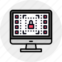 data, hardware, lock, protection, safe, secure, system icon