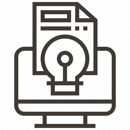 bulb, document, light, light bulb, monitor, screen icon