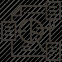 chart, document, graph, pie icon