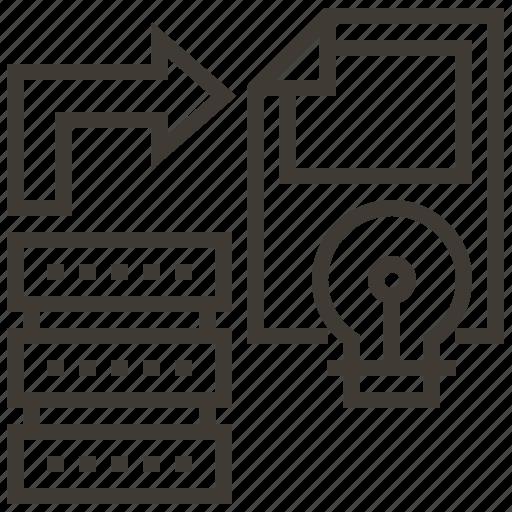 arrow, bulb, document, light, light bulb, server icon