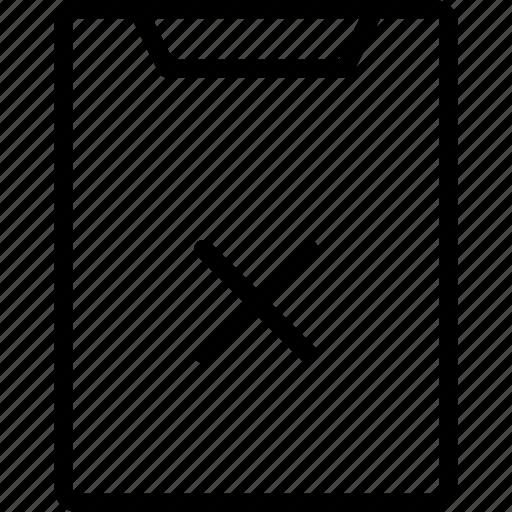 clipboard, cross, data, files icon