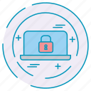 cybersecurity, data, laptop, lock, protection icon