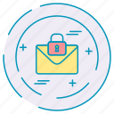 cybersecurity, data, letter, protection icon