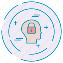 brain, cybersecurity, data, lock, protection icon