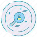 cybersecurity, data, protection, search icon