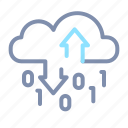 binary, cloud, data, processing, server, storage icon