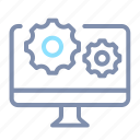 cogwheel, computer, data, desktop, gear, monitor, processing icon