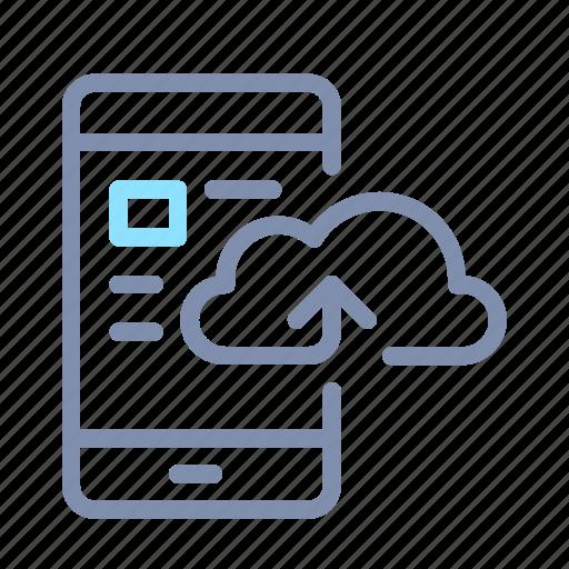 cloud, data, mobile phone, processing, server, storage, upload icon