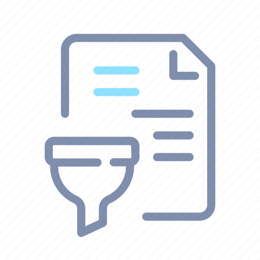 data, document, file, filtration, funnel, paper, processing icon