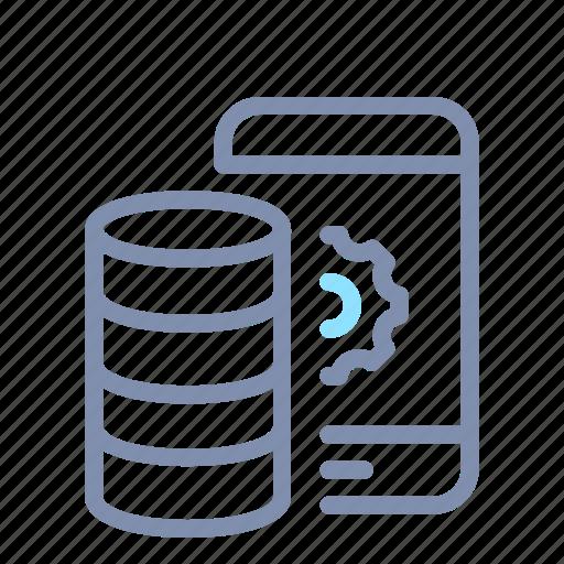 data, database, mobile, optimization, processing, server, storage icon