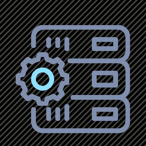data, gear, hosting, network, processing, server, storage icon
