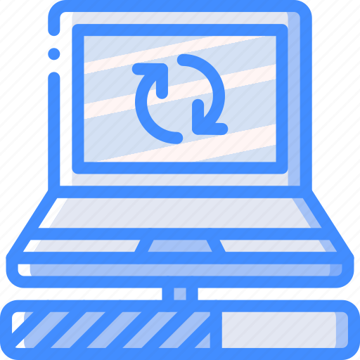 data, laptop, recovery, sync icon