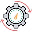 effectiveness, efficiency measure, performance ratio, productivity symbol, speedometer icon