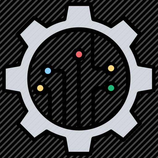 circuit print, cogwheel, connection process, engineering, mechanism icon