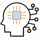 artificial intelligence, data intelligence, digital brain, information technology, machine learning icon