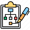 business scheme, project management, project plan, strategy plan, workflow planning icon
