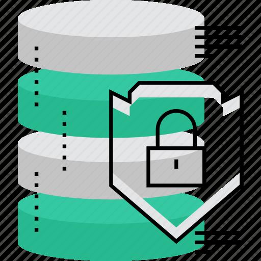 backup, data, database, lock, secured, server, shield icon