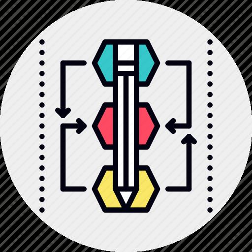 algorithm, design, method, model, process, shape icon