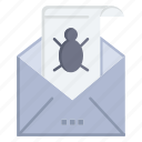bug, e, email, mail, malware, spam, threat, virus icon