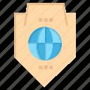access, globe, protection, shield, world icon