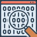 analytics, binary code, binary data search symbol, code, coding, magnifying, software