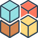 cube graphic of squares, geometric, polygon, puzzle, shape, square, technology