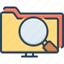 data search interface, file, information, interface, magnifier, magnifying glass, webpage