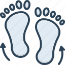 direction, feet, footprints, footprints direction sketch, footsteps, gradient, step icon