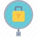 business, padlock, search, secure, security icon
