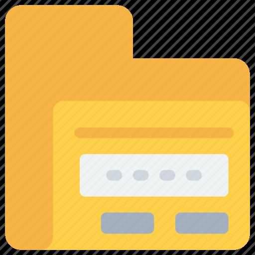 data, database, document, folder, password, secure, security icon