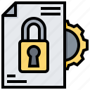 confidential, data, document, information, lock, protection, security icon