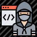 data, hack, hacker, hat, steal, website icon