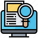 computer, document, find, information, search, verification icon