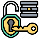 database, key, protection, shield, system icon