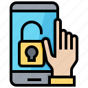hand, key, login, password, protection, smartphone, tablet icon