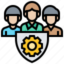 data, man, protection, security, shield, team icon