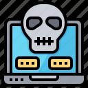 cranium, cyber, hacker, notebook, security, skull, virus icon