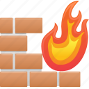 antivirus, data, fire, firewall, security, wall icon