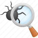 bug, data, magnifier, scan, search, security, virus icon
