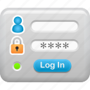log in, security, box, password, data, login icon