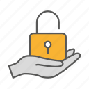 data, hand, protection, safety, secure, security icon