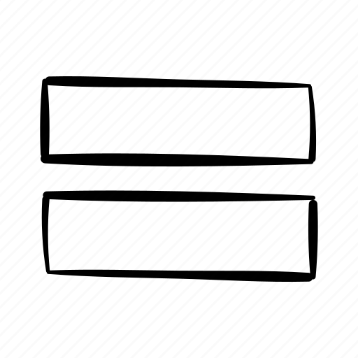 equals, equation, handdrawn, lines, math, sum, two lines icon