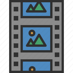 cinema, data, film, movie, photo, storage, tape icon