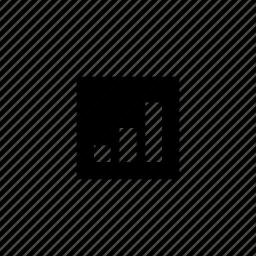 ascending, bar, data, square icon