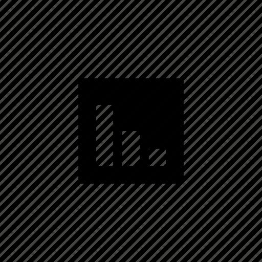bar, data, descending, square icon