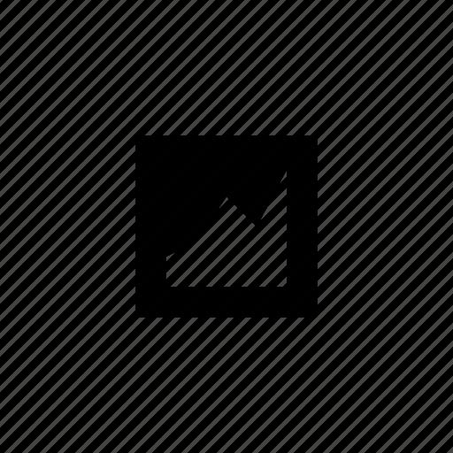 ascending, data, graph, square icon
