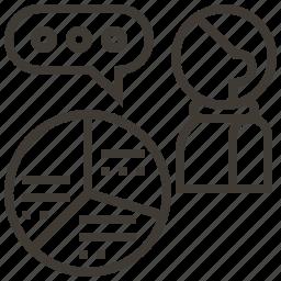 chart, graph, person, pie chart, presentation icon