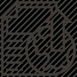 arrow, document, globe, world icon