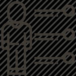 data, information, person icon