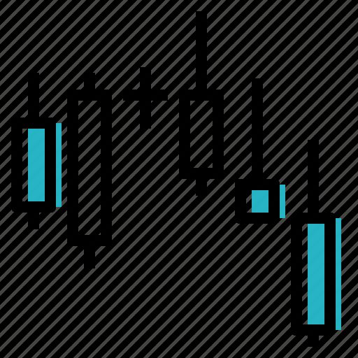 candlesticks, data, market, stock, visualisation icon